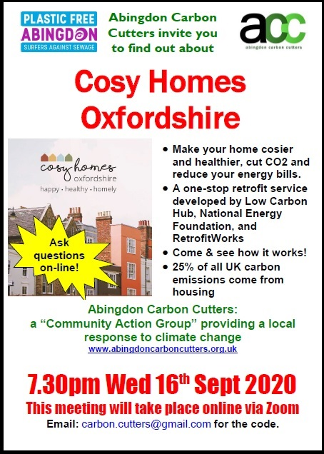 Find Out About Cosy Homes Oxfordshire! @ Online meeting, via Zoom