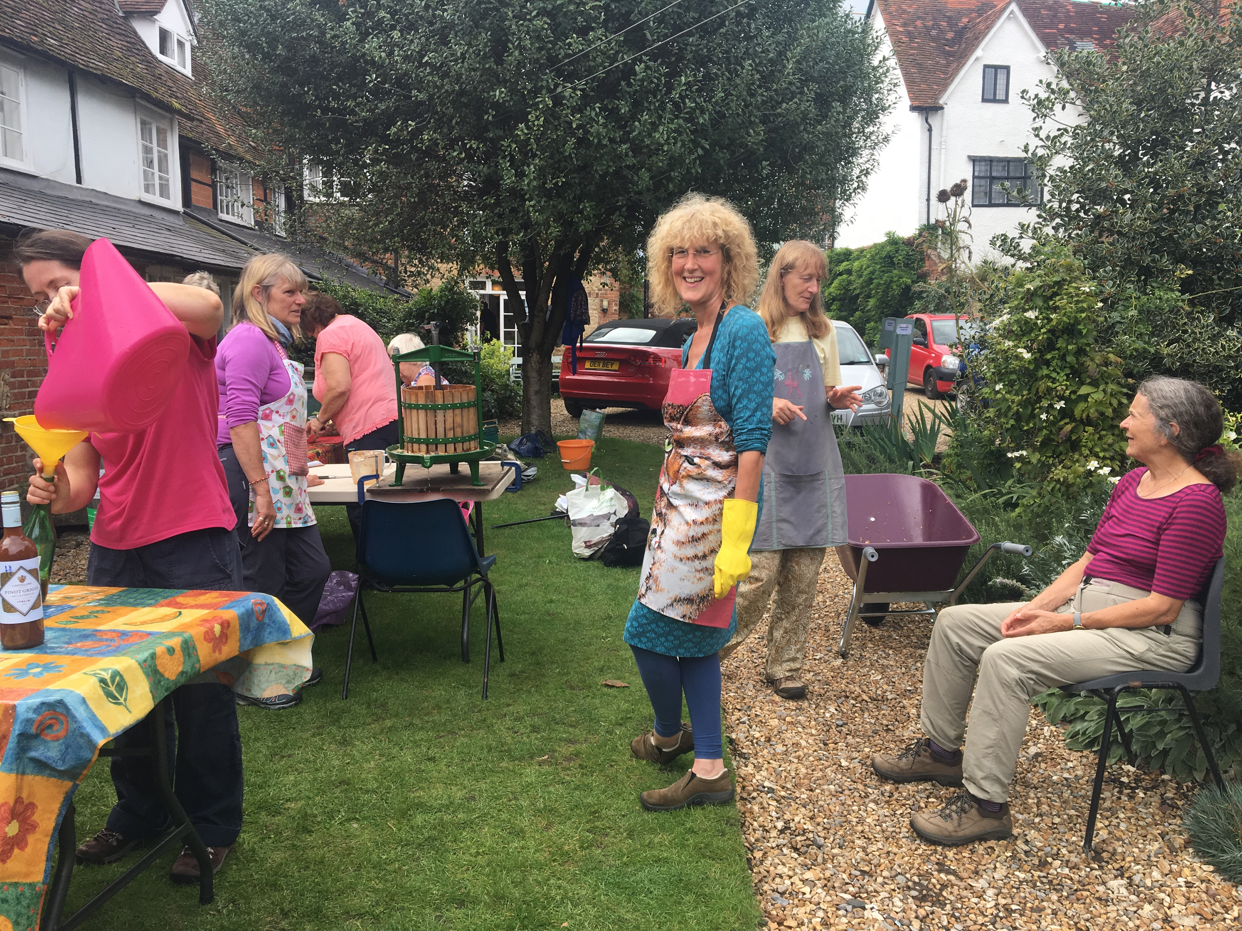 The apple pressing gang in St Ethelwold's garden