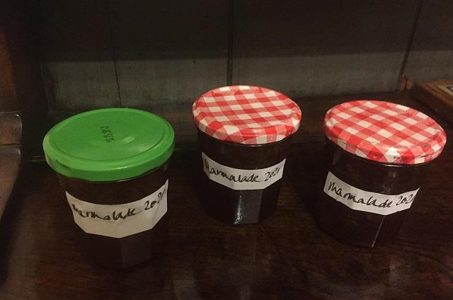 Three jars of homemade marmalade